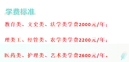 沂源县成考本科学费标准