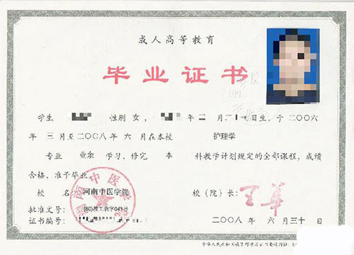 河南中医学院函授毕业证书